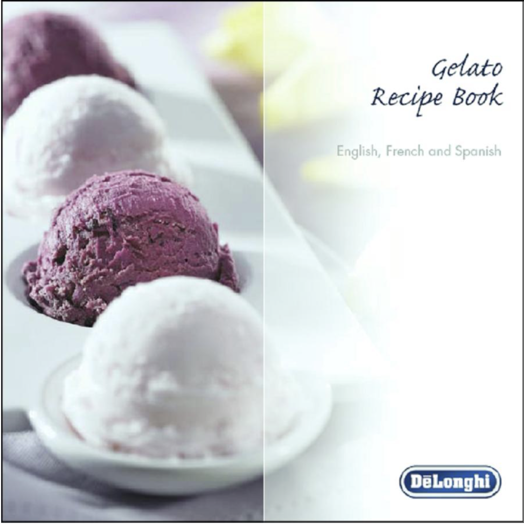 DeLonghi GM6000 Gelato Maker with Self-Refrigerating Compressor - recipe book